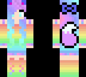 Rainbow Wolf Girl Minecraft Skin