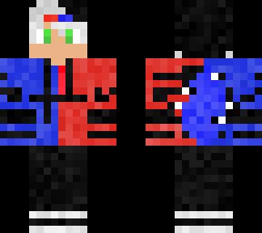Red Blue Wolf Boy Minecraft Skin