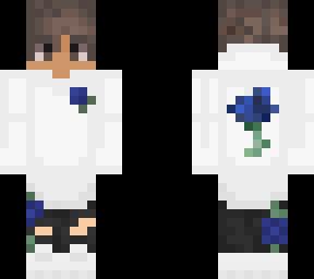 Blue Rose Hoodie Boy Minecraft Skin