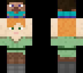 Alex Holding Steve Minecraft Skin