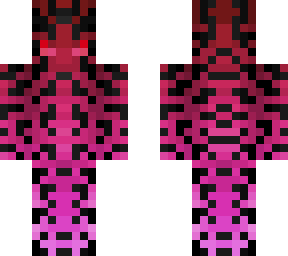 runic creature - red fade pink w/ black symbols