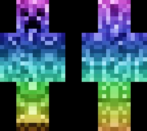 Rainbow Cool Creeper Minecraft Skin
